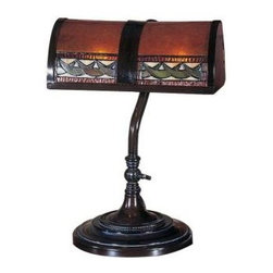 Dale Tiffany - Desk Lamps: 14 in. Egyptian Mica Bronze Desk Lamp TA100682 - Shop for Lighting & Fans at The Home Depot. The deep, rich burnt umber tone in the genuine mica shade in this Egyptian banker s lamp is perfect for any room in your home or office needing a masculine touch. A scimitar pattern runs across the bottom on the front side of the shade, which features 48 pieces of hand rolled art glass, each piece individually set in copper foil using the same method that Louis Comfort Tiffany employed over 150 years ago. The metal base is finished in a dark mica bronze, adding to the gentlemanly feel of this handsome lamp.
