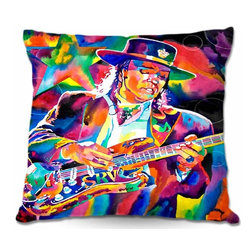 DiaNoche Designs - Pillow Woven Poplin - Stevie Ray Vaughn - Toss this decorative pillow on any bed, sofa or chair, and add personality to your chic and stylish decor. Lay your head against your new art and relax! Made of woven Poly-Poplin.  Includes a cushy supportive pillow insert, zipped inside. Dye Sublimation printing adheres the ink to the material for long life and durability. Double Sided Print, Machine Washable, Product may vary slightly from image.