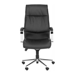 Safavieh - Chester Desk Chair - Rock around the clock. Crafted with sturdy rubber wheels, and adjustable seat and refined executive office style, the black faux leather Chester Desk Chair will keep upper management in gear and in style. Perfect for the traditional or contemporary study or home office.