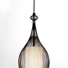 Contemporary Pendant Lighting Paavo Pendant: Black with White Glass Shade