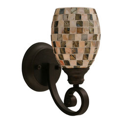 "Toltec - Toltec 151-Brz-408 Curl 1-Light Wall Sconce Shown in Bronze - Toltec 151-BRZ-408 Curl 1-Light Wall Sconce Shown in Bronze with 5"" Sea Shell Glass"