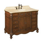 Belle Foret - Belle Foret Single Sink Bathroom Vanity, Dark Cherry (80003R) - Belle Foret 80003R Single Sink Bathroom Vanity, Dark Cherry