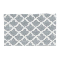 "Marlo Jacquard Bath Rug, 21 x 34"", Gray Mist - A Moroccan tile motif lets our rug mix easily with both patterned and solid towels. It's loomed from cotton for softness, and is slip resistant. 21"" wide x 34"" long Made of 100% cotton. Yarn dyed for vibrant, lasting color. Backed with cotton canvas adhered with synthetic latex. Machine wash. Imported."
