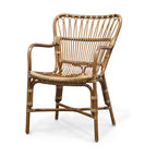 Palecek - Retro Rattan Dining Arm Chair - Pole rattan frame with pencil rattan details on the back and seat in a medium brown finish.