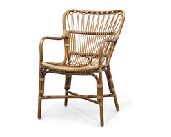 Palecek - Retro Rattan Dining Armchair - Pole rattan frame with pencil rattan details on the back and seat in a medium brown finish.