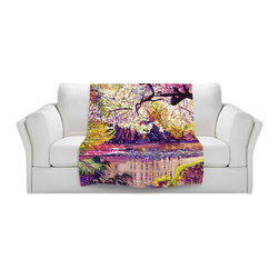 DiaNoche Designs - Throw Blanket Fleece - Central Park Spring Pond - Original Artwork printed to an ultra soft fleece Blanket for a unique look and feel of your living room couch or bedroom space.  DiaNoche Designs uses images from artists all over the world to create Illuminated art, Canvas Art, Sheets, Pillows, Duvets, Blankets and many other items that you can print to.  Every purchase supports an artist!