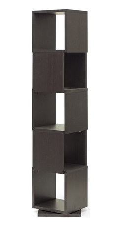 Baxton Studio - Baxton Studio Ogden Dark Brown 5-Level Rotating Modern Bookshelf - With 360 degree swivel and five shelves, the Ogden Designer Bookshelf makes it easy to find the tome you're looking for. Equally fitting for photos and other home decor, this contemporary display shelf is made in Malaysia with dark brown faux wood grain paper veneer over a frame of engineered wood. The Ogden Contemporary Bookshelf requires assembly and is easily cleaned with the swipe of a dry cloth. also available are 2, 3, and 4-level options of the Ogden Bookshelf (each sold separately).