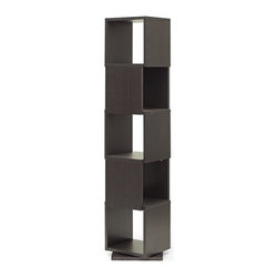 "Baxton Studio - Baxton Studio Ogden Dark Brown 5-Level Rotating Modern Bookshelf - With 360 degree swivel and five shelves, the Ogden Designer Bookshelf makes it easy to find the tome you're looking for. Equally fitting for photos and other home decor, this contemporary display shelf is made in Malaysia with dark brown faux wood grain paper veneer over a frame of engineered wood. The Ogden Contemporary Bookshelf requires assembly and is easily cleaned with the swipe of a dry cloth. Also available are 2, 3, and 4-level options of the Ogden Bookshelf (each sold separately).Product dimension: 15.81""W x 15.81""D x 75.31""H, shelf(5): 13.81""Wx 13.81""D x 13.5""H"