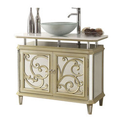 """Benton Collection - 38.5"""" Champagne Gold Color Mirrored Reflection Idella Vessel Sink Vanity Hfz250 - Dimensions: 38.5x18x32.5""""H"""