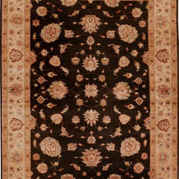 "ALRUG - Handmade Chocolate Oriental Ferahan Rug 5' 11"" x 7' 10"" (ft) - This Afghan Ferahan design rug is hand-knotted with Wool on Cotton."
