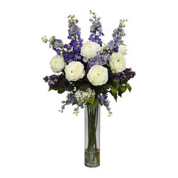 """Rose, Delphinium and Lilac Silk Flower Arrangement - Celebrate the warm weather with this incredible arrangement of 'springtime color' from Nearly Natural's Floral Collection. We've selected some of our finest floral offerings (such as soft delphiniums and delicate lilacs, and brought them together in a beautiful 18"""" glass vase (complete with faux water). It's a literal burst of sunshine, and makes the perfect finishing touch for any room. Height= 38 in x Width= 21 in x Depth= 21 in"""