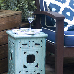 Square Lattice Garden Stool - They call this a stool, but I think it would make a fabulous side table. After all, one can't be expected to hold one's drink all night long...