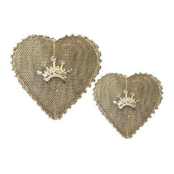 "Mesh Heart with Crown Set of 2 - A cute little set of wire mesh hearts with a crown.  2.5"" & 3.5"""