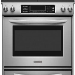 "KitchenAid 30"" Gas Range - Architect® series freestanding range with a 4.1 cu. ft. capacity oven and front electronic controls with scrolling graphic display. Gas True Convection™ Oven with T.H.E.™ third hidden element."