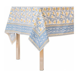 Origin Crafts - Pagoda blue/ochre tablecloth - Pagoda Blue/Ochre Tablecloth Our East Asia inspired Pagoda pattern is a perfect fall tabletop addition. Block printed in cool shades of blue and ochre, they're sure to be a nice addition to any dinner party. 100% Cotton, block printed. Machine wash, tumble dry low, warm iron as needed. Made in