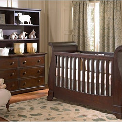 Munire Furniture - Munire Furniture Chesapeake 4-in-1 Convertible Sleigh Crib - Merlot - MUNI095 - Shop for Cribs from Hayneedle.com! The Munire Furniture Chesapeake Sleigh Crib - Merlot features a gorgeous traditional sleigh bed style with a rich merlot finish. Even better than its style is its versatility; this crib converts into a toddler bed daybed and full-sized bed with the addition of the optional conversion kit and toddler guardrail.This package also gives you the option to add a 5-drawer chest 6-drawer dresser and hutch for a complete nursery makeover. Each piece is durably crafted from high-quality wood and the drawers open easily on smooth glides. One large and two small shelves in the hutch give you plenty of room for storage or display.Additional Features:Create your own package from available itemsChest has 5 drawers; dresser has 61 large and 2 small shelves on hutchCrib converts to toddler and full bedAbout Munire Furniture:Munire Furniture's mission is simple: To bring you superior-quality furniture for your kids' bedrooms at a price your family can afford. Using traditional cabinetry techniques mixed with modern production technology Munire builds furniture that's durable and versatile.Even more important is Munire's dedication to your children's safety. Through constant and rigorous testing they meet or exceed federal safety standards giving you peace of mind along with beautiful furniture.