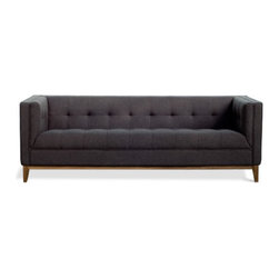 Gus Modern - Atwood Sofa, Urban Tweed Ink - Atwood Sofa by Gus Modern. The Atwood Sofa and Chair are a tailored designs which features a blind-tufted seat, back, and arms, along with piping details which all lend to a clean, sophisticated look. The solid wood perimeter base is walnut finish with tapered legs.