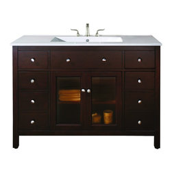 """Avanity - Avanity LEXINGTON-VS48-LE Lexington 49"""" Vanity Set in Light Espresso with Integr - Avanity LEXINGTON-VS48-LE Lexington 49"""" Vanity Set in Light Espresso with Integrated Vitreous China TopThe Lexington 49"""" Bathroom Vanity Set is a beautiful combination of modern and traditional design. It's constructed of solid birch wood and birch veneers, tinted glass doors, brushed nickel hardware and soft-close drawer guides and hinges. Also included is a vitreous china top with integrated bowl, pre-drilled for an 8"""" widespread faucet. The coordinating linen tower (sold separately) completes this collection.Please see our Delivery Notes for Freight Shipments for products that are oversized and/or are too heavy to ship UPS ground. Avanity LEXINGTON-VS48-LE Lexington 49"""" Vanity Set in Light Espresso with Integrated Vitreous China Top, Features:bull; Dimensions: 49"""" w x 22"""" d x 35"""" h"""