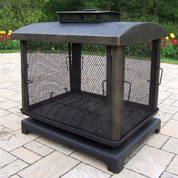 Oakland Living - Outdoor Fire Place in Black - Fire Pits - Made of Durable Copper and Cast Iron Construction. Fire pit BBQs use charcoal for grilling. Easy to follow assembly instructions and product care information. Stainless steel or brass assembly hardware. Fade, chip and crack resistant. 1 year limited. Hardened powder coat finish in Black for years of beauty. Black finish. Some assembly required. 29 in. W x 23 in. L x 37 in. H (59 lbs.)This fire pit BBQ will be a beautiful addition to your patio, back yard or outdoor entertainment area. Adds beauty, style and functionality. Our fire pit BBQs are perfect for any small space, or to accent a larger space.