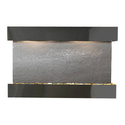 Sunrise Springs Wall Fountain, Blackened Copper, Black Featherstone, Square Fram - The Sunrise Springs Wall Fountain is a centerpiece of serenity and beauty of nature that is perfect for your home or office. It exudes an experience of being one with nature within your own workplace or living room.
