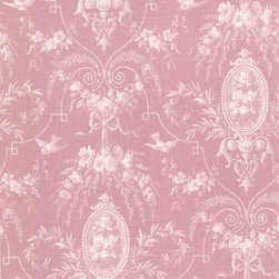 Beacon House - Flourish Pink Cameo Fleur Wallpaper - Do something delicate with your walls to dignify your decor.  Birds, florals, ribbons and bows in a soft blush of pink make a genteel statement in your favorite traditional setting.