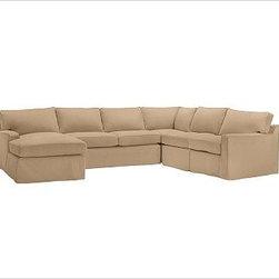 """PB Square Armless Chair Slipcover, Brushed Canvas Walnut - Designed exclusively for our PB Square Sectional Components, these soft, inviting slipcovers retain their smooth fit and remove easily for cleaning. Right 4-Piece Chaise Sectional shown. Select """"Living Room"""" in our {{link path='http://potterybarn.icovia.com/icovia.aspx' class='popup' width='900' height='700'}}Room Planner{{/link}} to select a configuration that's ideal for your space. This item can also be customized with your choice of over {{link path='pages/popups/fab_leather_popup.html' class='popup' width='720' height='800'}}80 custom fabrics and colors{{/link}}. For details and pricing on custom fabrics, please call us at 1.800.840.3658 or click Live Help. All slipcover fabrics are hand selected for softness, quality and durability. Right-arm version is shown; also available in left-arm configuration. {{link path='pages/popups/sectionalsheet.html' class='popup' width='720' height='800'}}Left-arm or right-arm{{/link}} is determined by the location of the arm as you face the piece. This is a special-order item and ships directly from the manufacturer. To view our order and return policy, click on the Shipping Info tab above. Internet Only."""