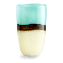 Turquoise Earth Vase - 5.5 x 8.5 - A rich, oceanic assortment of colors create an abstract beach landscape bending around the slightly tapered, cylindrical form of the Large Turquoise Earth Vase.  A band of deep brown, the darkly-hued horizon to this seascape, separates fields of soft turquoise and gentle golden taupe, emphasizing the delicate glow of these complementary hues.