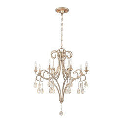 World Imports - Caruso 8-Light Chandelier, Silver - Antique champagne finish