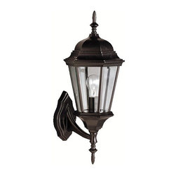 BUILDER - KICHLER 9653BK Madison Transitional Outdoor Wall Sconce - With its timeless colonial profile, the Madison is the perfect line of outdoor fixtures for those looking to embellish classic sophistication. Because it is made from cast aluminum and comes in an extensive amount of different finishes, this Madison 1-light wall lantern can go with any home decor while being able to withstand the elements. It features a Black finish with clear beveled glass panels. U.L. listed for wet location.