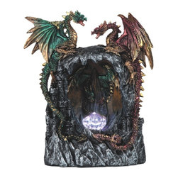 GSC - 9 Inch LED Light Up Red/Green Dragons Standing Over Castle Staute - This gorgeous 9 Inch LED Light Up Red/Green Dragons Standing Over Castle Staute has the finest details and highest quality you will find anywhere! 9 Inch LED Light Up Red/Green Dragons Standing Over Castle Staute is truly remarkable.