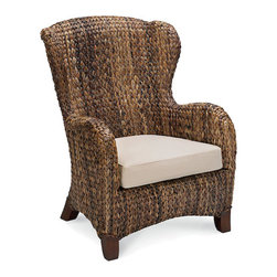 Seagrass Wingback Armchair - This seagrass wingback chair would be beautiful sitting on a sunporch.