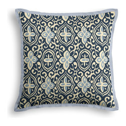 Blue Moroccan Mosaic Tailored Throw Pillow - The Tailored Throw Pillow is an updated, contemporary pillow style with the center fabric framed by a thin contrast flange.  Voila! -it's artwork for your couch!  We love it in this royal & sky blue block print reminiscent of traditional morrocan mosaics.