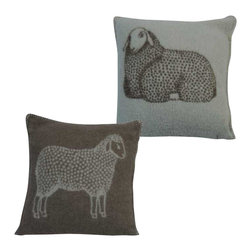 Happy Blanket - Boiled Wool Toile Pillow SHEEP, Brown - Wool is a natural temperature regulator, naturally hypoallergenic, naturally breathable and even improves sleep quality.