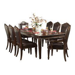 Homelegance - Homelegance Palace 9-Piece Dining Room Set with Buffet - The Palace collection exemplifies the best of Old World Europe. Egg and dart moldings, rope twists, acanthus and tobacco leaf carvings and florets accentuate each piece; the Palace collection has it all.