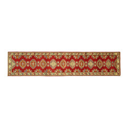 Manhattan Rugs - New HQ Super Kazak Red Veg Dyed Runner Hand Knotted Wool 3x12 Oriental Rug H5864 - Kazak (Kazakh, Kasak, Gazakh, Qazax). The most used spelling today is Qazax but rug people use Kazak so I generally do as well.The areas known as Kazakstan, Chechenya and Shirvan respectively are situated north of  Iran and Afghanistan and to the east of the Caspian sea and are all new Soviet republics.   These rugs are woven by settled Armenians as well as nomadic Kurds, Georgians, Azerbaijanis and Lurs.  Many of the people of Turkoman origin fled to Pakistan when the Russians invaded Afghanistan and most of the rugs are woven close to Peshawar on the Afghan-Pakistan border.There are many design influences and consequently a large variety of motifs of various medallions, diamonds, latch-hooked zig-zags and other geometric shapes.  However, it is the wonderful colours used with rich reds, blues, yellows and greens which make them stand out from other rugs.  The ability of the Caucasian weaver to use dramatic colours and patterns is unequalled in the rug weaving world.  Very hard-wearing rugs as well as being very collectable