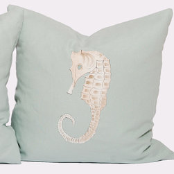 Handpainted Seahorse Pillow - Seafoam - A delicate seahorse dances playfully against a sea foam green background on this beautifully hand painted decorative pillow. Ideal for a finishing touch or accent piece to add to your favorite beach house room, this pillow brings a soft coastal touch to any living area or guest bedroom.