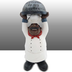Black Chef Kitchen Statue With Welcome to Kitchen Sign Table Art Decor - Beautiful Kitchen Counter Table Top Art Decoration fo Bistro Cook or Restaurant.