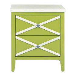 Safavieh - Sherrilyn 2 Drawer Side Table - Lime Green - The classic style of the Sherrilyn 2-drawer side table gets updated in a fresh lime green finish with charming contrasting white top and x-details on the drawers. A perfect companion bedside or beside a sofa.