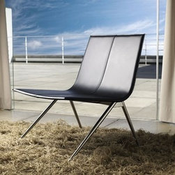Modloft - Modloft | Mayfair Lounge Chair - Made in Brazil by Modloft.Simply lounge. The Mayfair Lounge Chair features a stainless steel frame with minimal, bent seating. Choice of leather (smooth or textured) or synthetic hair seat. Available in a variety of fabric options.