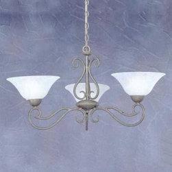 Toltec Lighting - Bronze Finish 3 Light Uplight Chandelier with White Marble Glass - 3 medium base 100 watt bulb(s) (not included).