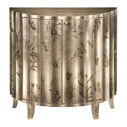 "Inviting Home - Painted Fluted Cabinet - Hand-painted floral cabinet with floral design antiqued crackled silver finish two doors and one shelf inside; 34""W x 17-1/2""D x 33""H Hand-crafted fluted cabinet with hand-painted floral design on an antique crackled silver background. Painted cabinet has two doors and one shelf inside."