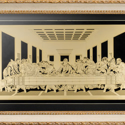 Vahaz Gold Art & Gifts - Last Supper, Ivory Frame - The Last Supper by Leonardo Da Vinci is one of the most studied and scrutinized paintings in the world. Vahaz brings you a replicate of Da Vinci's extraordinary work. Elegantly finished in 24k gold, this masterpiece will be professionally framed and mounted on you choice of black or white suede matte board. This wall art will be shipped ready to hang.