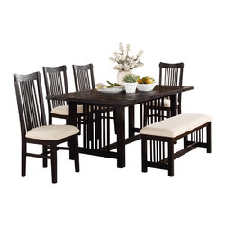 Homelegance - Homelegance Irrington Trestle Dining Table in Black Driftwood - A black driftwood finish lends a new take on traditional Mission styling in the Irrington Collection. Vertical slat back chairs, with beige fabric seats, flank the rough-hewn tabletop that stands as the focal point of this dining offering. Also available is a 47-inch coordinating bench.