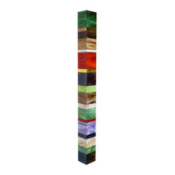 """Glass Wall Sculpture - """"Earth Totem V"""" - A contemporary, three-dimensional stained glass wall sculpture with vibrant opalescent colors. Glass wraps around 3 sides with the hanging mechanism at the back of the piece. Built over expanded polystyrene (EPS)."""