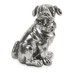 Ralph Stick Silver Dog Statue - Pug lovers beware - this little guy is sure to steal your heart. With loveable features and silver finish, this dog figurine is a great gift for any collector or pug enthusiast.