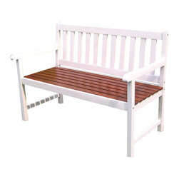 International Caravan - International Caravan 4 Foot Outdoor Wooden Patio Bench in White/Oak - International Caravan - Outdoor Benches - VF4110WTOK - For over 44 years International Caravan has been one of the leaders in quality outdoor and indoor furniture. Using only the finest materials they bring skill craftsmanship and complete dedication to those who enjoy their furniture. You cannot go wrong with any of International Caravan's beautifully constructed pieces of furniture that are sure to be a focal point inside or outside of your home for years to come.