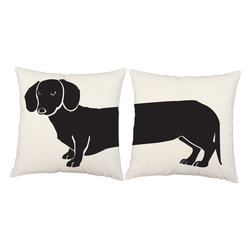 RoomCraft - Dachshund Throw Pillows 16x16 White Cotton Dog Cushions - FEATURES: