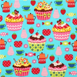 turquoise tartlet cupcake fruit sweets fabric Kokka from Japan - turquoise Japanese food fabric with colorful cupcakes, apples, strawberries, tea cups etc.