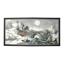 Oriental Unlimted - 36 in. Tall Bridge to the Full Moon Silk Scre - Screens may vary slightly in color. The Bridge to the Full Moon is extraordinary, in shades of black and gray, with touches of green and red. Subtle and beautiful hand-painted wall art for a fraction of the cost of a comparable print. Large hand-painted ink and watercolor silk screen. Song dynasty (10th century China) brush art style. Can be displayed as a privacy screen. Can be folded partly to stand upright on a table or floor. Crafted from silk covered paper, glued over 4 side-by-side lacquered wood frames. Matted with a fine Chinese silk brocade border. Comes with lacquered brass geometric hangers for easy mounting. Note that no 2 renderings are exactly the same. 72 in. W x 0.63 in. D x 36 in. H