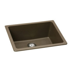 "Elkay - Elkay ELGU2522MC0 Mocha E-Granite Gourmet E-Granite 25""(L) x - Elkay Gourmet E-Granite 25""(L) x 18-1/2""(W) Single Basin Undermount Kitchen Sink Molded from Elkay E-Granite which is up to 85% natural quartz and high performance acrylic resins. E-Granite is non-porous and resists staining. E-Granite is hard enough to resist scratches and chips. The color is solid throughout the sink and is UV resistant to prevent color-fading in indoor applications. Universal mount sinks can be installed as a Top mount or undermount. Both types of clips are provided. Product Features:  Undermount Single basin sink e-Granit Naturally sound deadened Heat resistant  Product Specifications:  Installation Type: Undermount Material: E-Granite Number of Basins: 1 Minimum Cabinet Size: 30"" Sink Dimensions: 25"" L x 18-1/2"" W Bowl Depth: 9-1/2"" Bowl Dimensions: 22-3/8"" L x 16-3/8"" W x 9-1/2"" D Faucet Holes: 0 Drain Size: 3-1/2"" Ship Wt: 41 lbs  Product Certifications and Compliances:  ANSI/NSF61 - Certified ASME 112.18.1/CSA B125-01 IAPMO Listed"